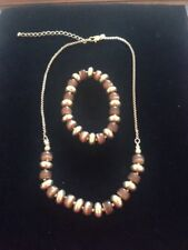 marks and spencer brown and gold necklace with matching elasticated bracelet