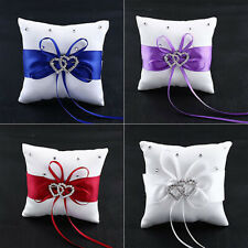 Diamond Engagement Wedding Party Ring Cushion Bearer Double Heart Pillow Decor