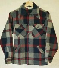 Vintage Woolrich Wool Plaid Button Jacket Coat Small Red Blue