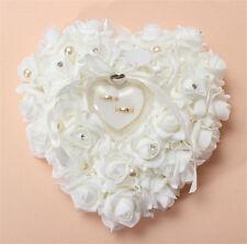 Cuscino Matrimonio Bianco Rose Forma Cuore Per Anelli Nozze Porta Fedi - White