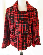 Women's Oleg Cassini Plaid Pea Swing Coat Wool Blend Red & Black Size XL