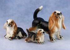 Vintage Miniature Set of 3 Bone China Basset Hound Family Dog Figurines Japan