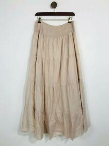 Zara Women's Cotton Boho Maxi Skirt   M UK10-12   Pink