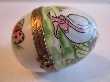 "Limoges Easter Egg Trinket Box Hand Painted- 2 1/4"" X 1 3/4"" -France -Tub Tk"