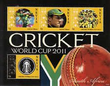 Nevis 2011 MNH ICC Cricket World Cup South Africa 4v M/S ERROR Australia Stamps