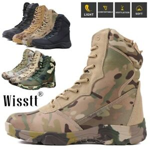 Mens Military Tactical Work Boots Hiking Waterproof Motorcycle Combat Camo Boots