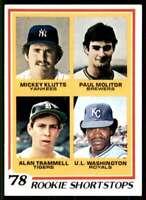 1978 Topps Klutts/Molitor/Trammell/Washington Roookie Shortstops #707