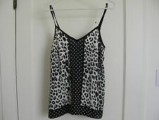 NWT Express Polka dot Leopard Animal Mix cami camisole Tank Top Black white