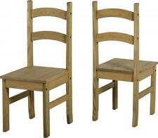PAIR OF BUDGET MEXICAN PINE DINING CHAIRS *FREE NEXT DAY DELIVERY
