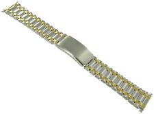 18-22mm Solid Stainless Steel Deployment Buckle Silver & Gold Two Tone WatchBand
