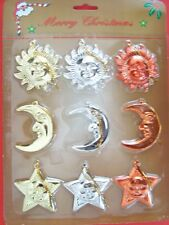"Merry Christmas ornaments, set of 9, star/moon/sun, 2"" high"