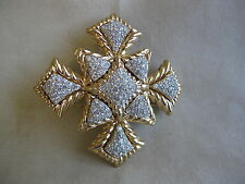 CINER Goldtone Clear Crystal Maltese Cross Brooch Pin Pendant -- Signed