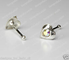 1/8 Inch Heart Rainbow Gem Sterling Jewelry Silver Nose Stud Bone Ring One (1)