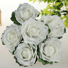 Fleurs artificielles mariage fête mariée bouquet décor 6pcs cheap mousse blanche roses