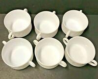 Arcopal France restaurant solid series consomme SOUP Bowl WHITE 2 handles Set 6