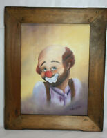 1987 Canvas Clown Oil Painting Signed by Artist S. Angello ~ 9 x 12 in ~ Framed