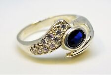 Vintage 925 DQ Diamonique Sterling Silver Sapphire CZ Hand Ring - Size 9