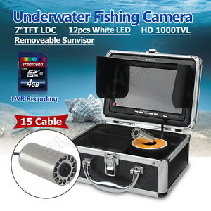 """EYOYO 7"""" LCD Underwater Video Camera Fish Finder w/DVR Functions LEDS 1000TVL!"""