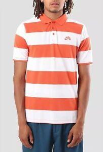 Nike SB Men's Vintage Coral/White Striped Gentlemen Short Sleeve Polo Shirt