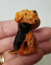 """Mini Airedale Terrier Puppy Dog Figurine Hand Sculpted Clay 1.75""""h"""
