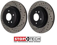 For BMW E90 E92 Pair Set of 2 Drilled & Slotted Rear Brake Disc Rotors StopTech