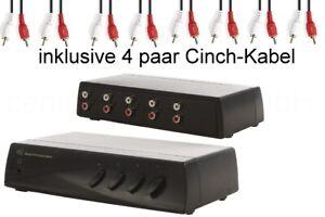 Cinch Umschalter / Verteiler 4-fach inkl. Kabel - RCA Audio Schalter