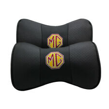 Black 2Pc Real Leather Car Seat Neck Pillow Car Headrest Fit For MG Car