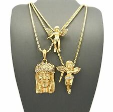 Iced Out Gold Jesus & Baby Angel Set Pendant w/ Box Chain 3 Necklace Set GN106G