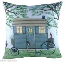 "17"" Shepherd Hut Sally Swannell Cushion Evans Lichfield DPA285 43cm caravan"