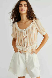 Free People Perfect Day Crop Top Buttondown Smocked Blouse Printed L NWT 223224