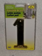 """Hy-Ko Solid Brass 5"""" Address Number 1 - Polished Brass - New In Package"""