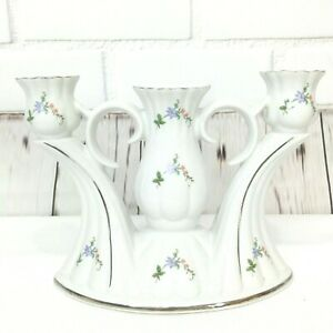 Chodziez Candle Stick Holder Poland Painted Floral Triple 3 Taper Blue Flowers