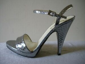 SEXY~!! NIB $550 PRADA Silver Snake Leather Ankle Strap Shoes ITALY EU37 US 7M
