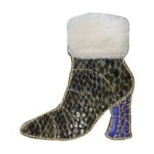 ID 7975 Fuzzy Top Snake Skin Boot Patch High Heel Embroidered Iron On Applique