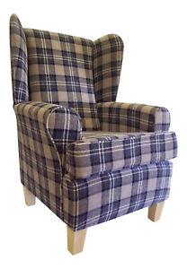 Fireside Wing Back Arm Chair  Lana Tartan Black & Grey Fabric Wooden Legs