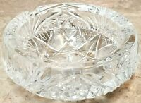 "Heavy 5.5"" Wide Cut Glass Crystal Ashtray Cigar / Cigarette Size - 3 LBS Etched"