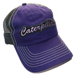 Purple Caterpillar Cap  Embroidered Patch Sparkle summer mesh back CAT Hat New