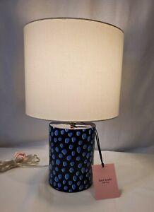 NEW Kate Spade FLAMINGO DOT Table Lamp Dark Navy Blue Dots Ceramic with Shade