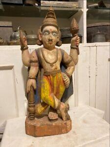 1700's Ancient Old Wooden Hand Carved Painted Hindu God Vishnu Figurine Rare