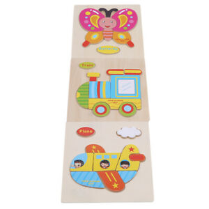 Kids Wooden Cartoon Animal Puzzle Jigsaw Early Learning Educational Toy R