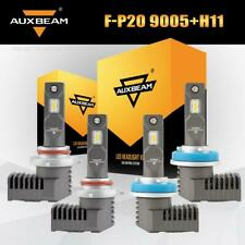 AUXBEAM 9005+H11 COB LED Headlight High+Low Beams 6500K White Power Bulbs 4PCS