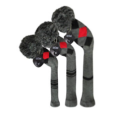 Scott Edward Stripes Style Knitted Golf Club Head Covers Set of 3, fit