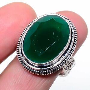 Sakota Mines Emerald 925 Sterling Silver Jewelry Ring s.9 S2696