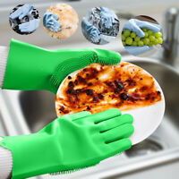 1 Pair Silicone Wash Cleaning Gloves with Sponge Scrubbers for Kitchen Bathroom