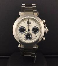 Cartier Pasha C Chronograph 35mm Stainless Steel Silver Dial Automatic W31048M7