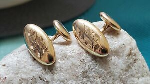 "Nice!! Vtg 14k Yellow Gold Etched ""B"" Oval Cuff Links 3.69g"