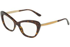 New Dolce & Gabbana DG 3275-B 502 Havana Gold RX Eyeglasses Frames 52mm Italy