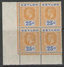 George V (1910-1936) Block Ceylon Stamps (Pre-1948)