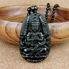 Natural Black Obsidian Carved GuanYin Buddha Lucky Pendants + Beads Necklace