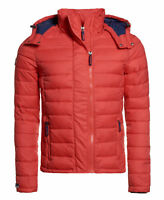 New Mens Superdry Fuji Double Zip Hooded Jacket Fire Engine Red